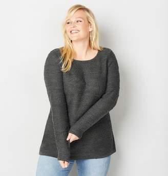 Avenue Plus Size Striped Stitch Pullover Sweater