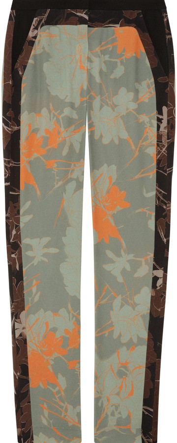 A.L.C. Briggs printed silk straight-leg pants