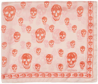 Alexander McQueen Pink and Orange Skull Scarf