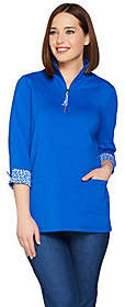 Susan Graver Weekend Stretch Cotton ModalHalf Zip Tunic