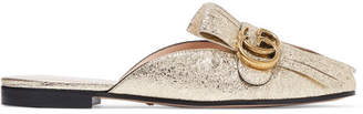 Gucci Marmont Fringed Logo-embellished Metallic Cracked-leather Slippers - Gold