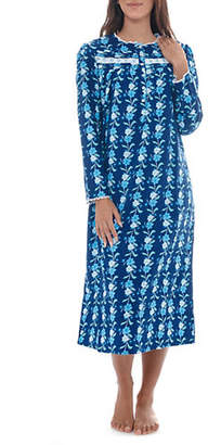 Jasmine Rose Floral Printed Flannel Nightgown
