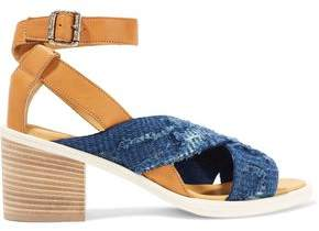 MM6 MAISON MARGIELA Leather And Frayed Denim Sandals