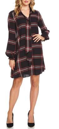 CeCe Tie Neck Metallic Plaid Woven Dress