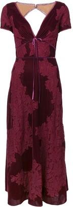Marchesa plunge neck lace panel dress
