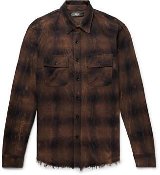 Amiri Distressed Printed Cotton-Flannel Shirt