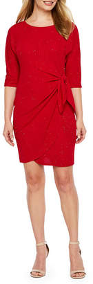 Robbie Bee 3/4 Sleeve Sheath Dress-Petite