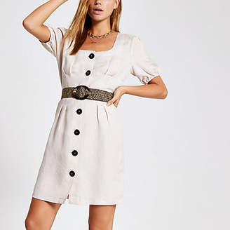 River Island Beige belted button front linen dress