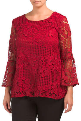 Plus Bell Sleeve Floral Lace Blouse