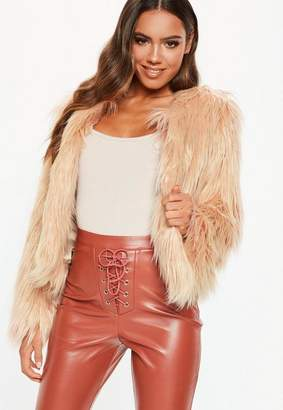 Missguided Petite Nude Collarless Shaggy Coat