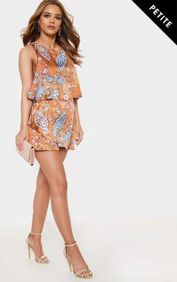 848fd86e15 PrettyLittleThing Petite Rust Satin Paisley Print Tiered Playsuit
