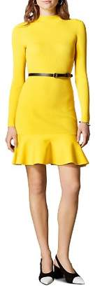 Karen Millen Belted Rib-Knit Dress