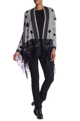 Molly Bracken Polka Dot Knitted Lace Trim Cardigan
