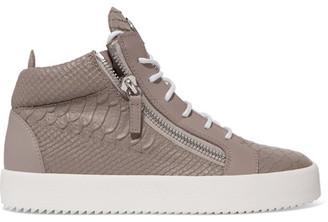 Giuseppe Zanotti - Kriss Croc-effect Leather High-top Sneakers - Mushroom $745 thestylecure.com