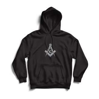 lepni.me Hoodie Fraternal & Masonic Logo Freemasonry Square and Compass ( White Black)
