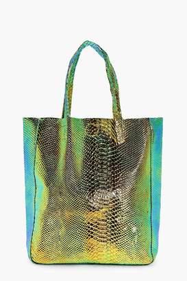 boohoo Edie Mermaid Holographic Shopper Beach Bag
