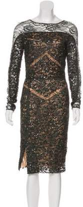 Elie Saab Sequin-Embellished Cocktail Dress Grey Sequin-Embellished Cocktail Dress
