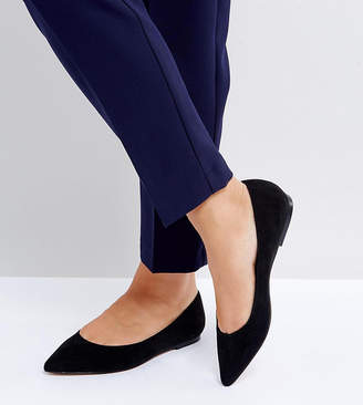 Asos Design DESIGN Wide Fit Latch pointed ballet flats