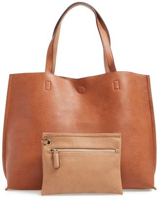 Street Level Reversible Faux Leather Tote & Wristlet