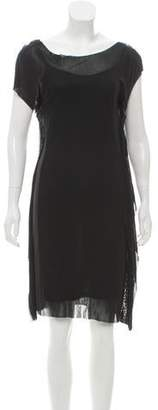 Halston Sheer Overlay Knee-Length Dress