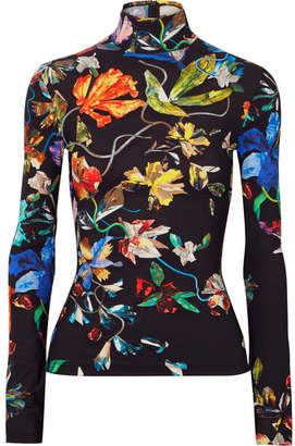 Thierry Mugler Floral-print Stretch-jersey Turtleneck Top - Black