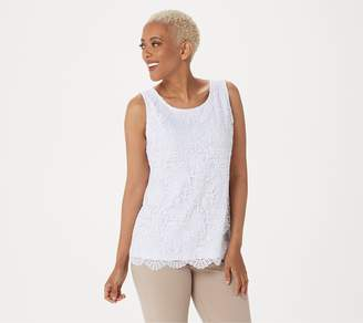 Susan Graver Liquid Knit Sleeveless Top with Lace Front