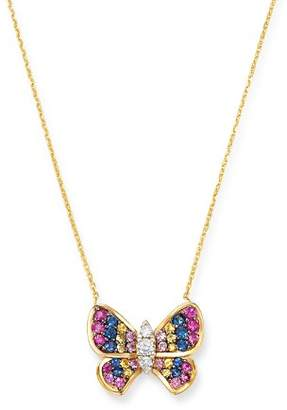 """Bloomingdale's Multicolor Sapphire & Diamond Butterfly Necklace in 14K Yellow Gold, 16.5"""" - 100% Exclusive"""