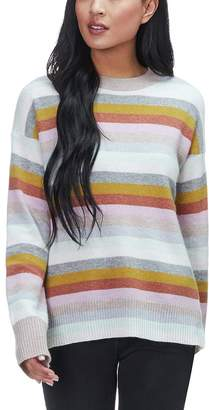 White + Warren Multicolor Stripe Crewneck Sweater - Women's