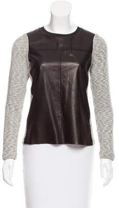 Rebecca Taylor Leather-Accented Sweater