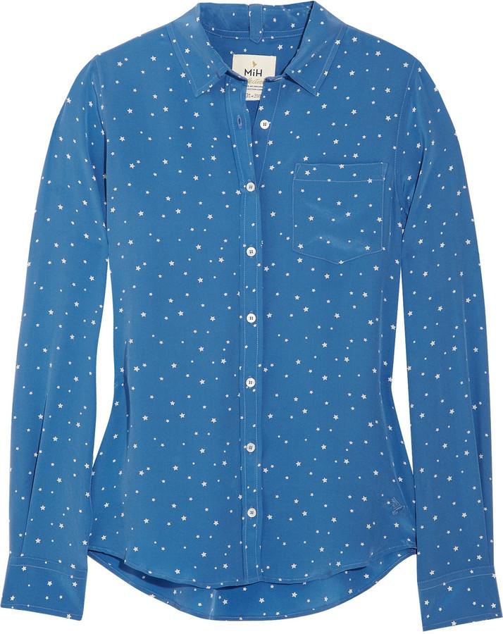 MiH Jeans Star-print silk-crepe shirt
