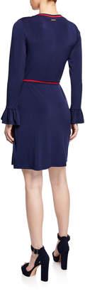 MICHAEL Michael Kors Faux-Wrap Bell-Sleeve Contrast Trim Dress