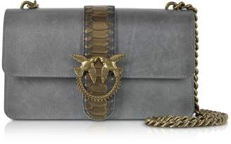 Pinko Dark Grey Love Python Western Shoulder Bag