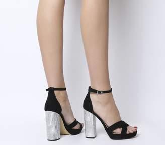 3819915d26a Office Hiccup Cross Vamp Platform Heels Black Diamante Heel