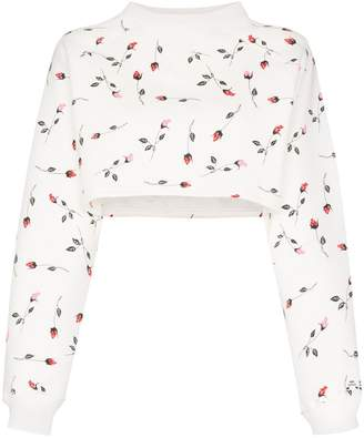 Adam Selman rose-print cropped sweatshirt