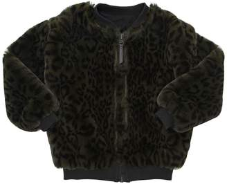 Molo Leopard Printed Faux Fur Bomber Jacket