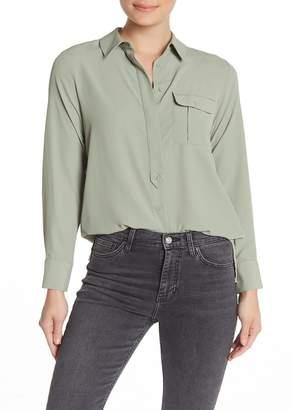 Topshop One Pocket Long Sleeve Blouse