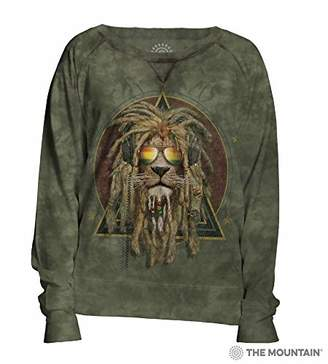 The Mountain Dj Lion Retro Adult Woman's Slouchy Crew Shirt