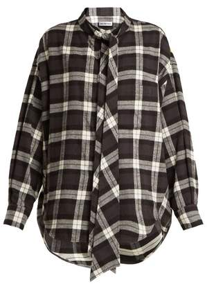 Balenciaga - New Swing Checked Cotton Flannel Shirt - Womens - Black White