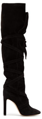 Saint Laurent Meurice Wraparound Suede Boots - Womens - Black