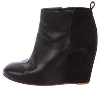 Celine Leather Wedge Ankle Boots Black Leather Wedge Ankle Boots