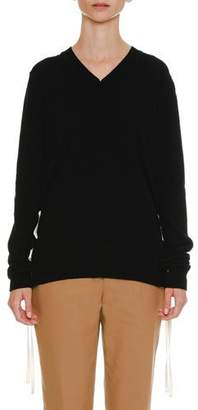 Jil Sander Lacing-Sides V-Neck Cashmere Knit Sweater