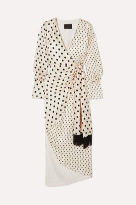 Mother of Pearl Velda Polka-dot Silk-satin Wrap Dress - Ivory