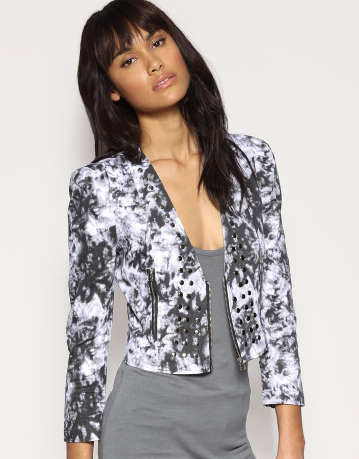 Love Milly Studded Zip Front Tie Dye Jacket