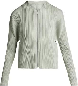 Pleats Please Issey Miyake Collarless pleated jacket