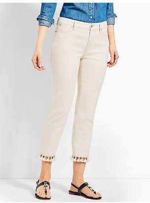 Talbots Tassel Hem Denim Straight Crop- Natural