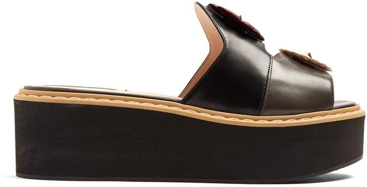 FENDI Flowerland leather flatform slides