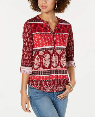 Style&Co. Style & Co Petite Printed Roll-Tab Top