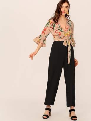 Shein Floral Print Surplice Neck Tie Waist Combo Jumpsuit