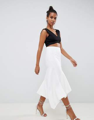 Asos DESIGN Tailored pencil skirt with asymmetric ruffle