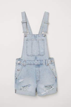 H&M Denim Bib Overall Shorts - Blue